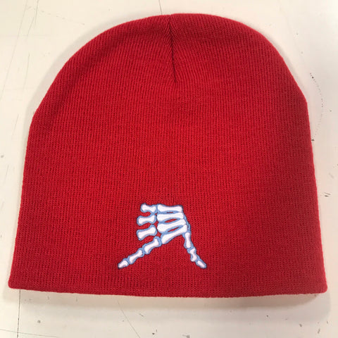 AkS Bones Beanie in Red & Columbia Blue