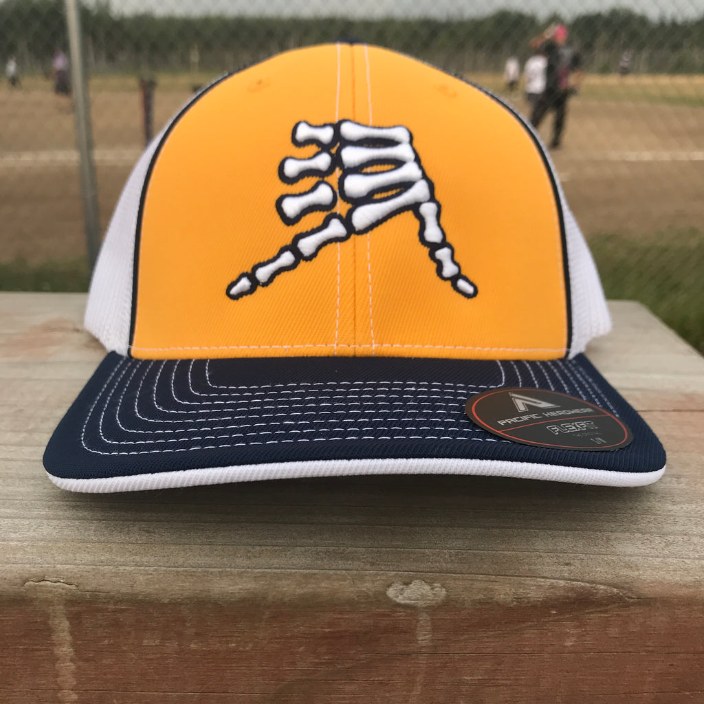 AkS Bones Trucker Hat in Yellow, Navy & White