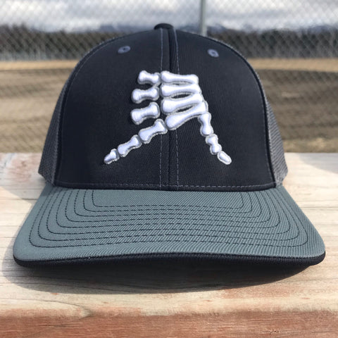 AkS Bones Trucker Hat in Black & Graphite