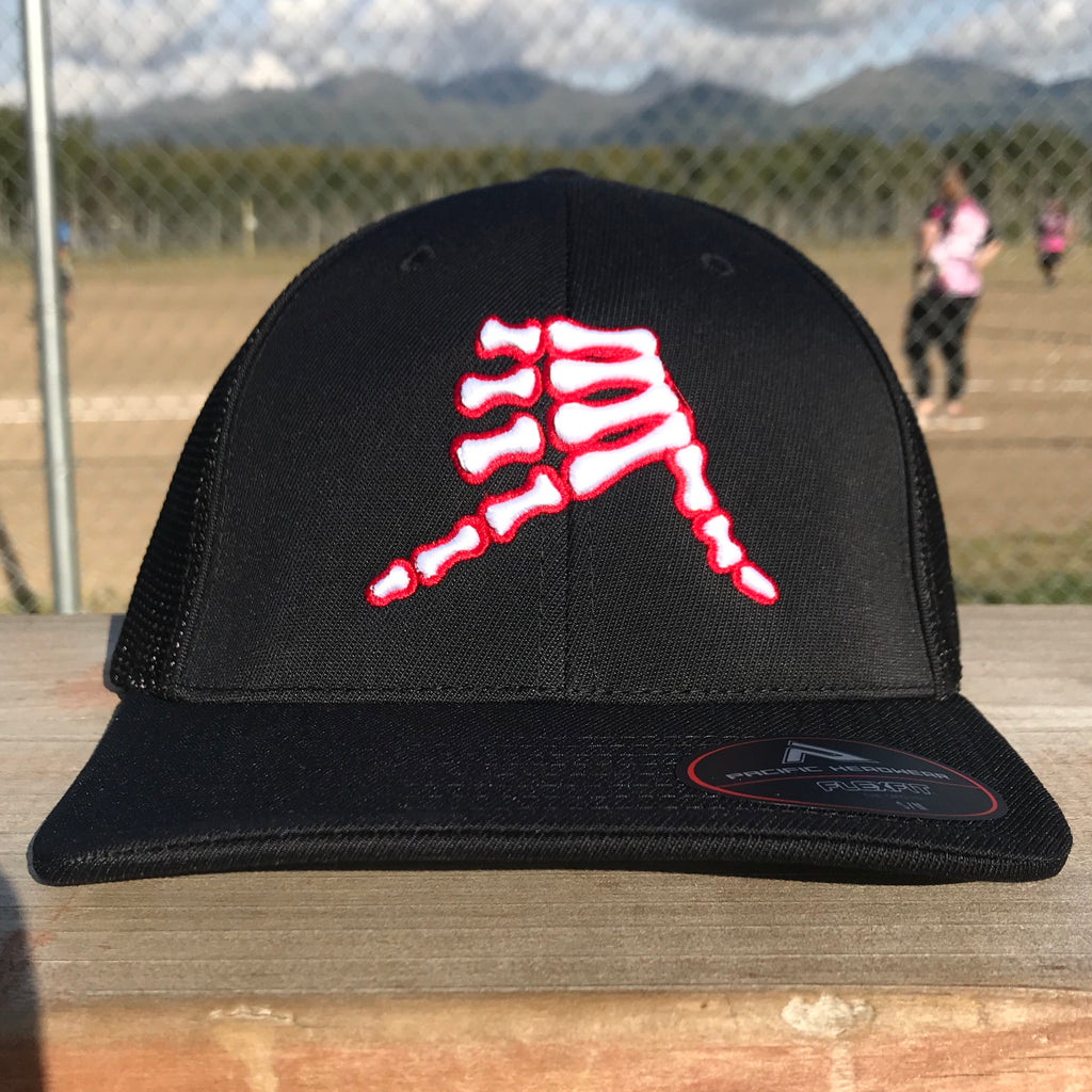 AkS Bones Trucker Hat in Black with Red