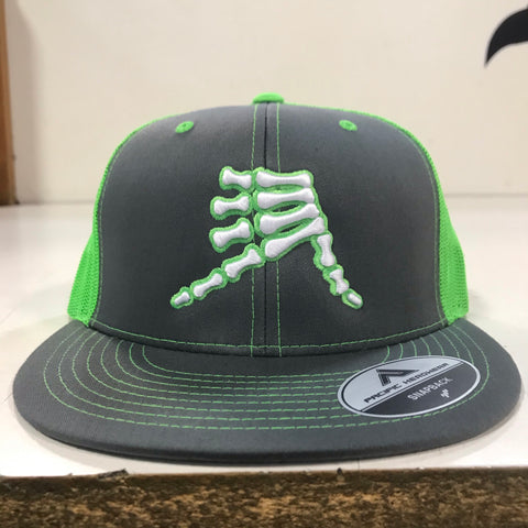 AkS Bones Snap-Back Flatbill Trucker hat in Graphite & Neon Green