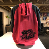 AkS Bones Hoodie in Red/Charcoal