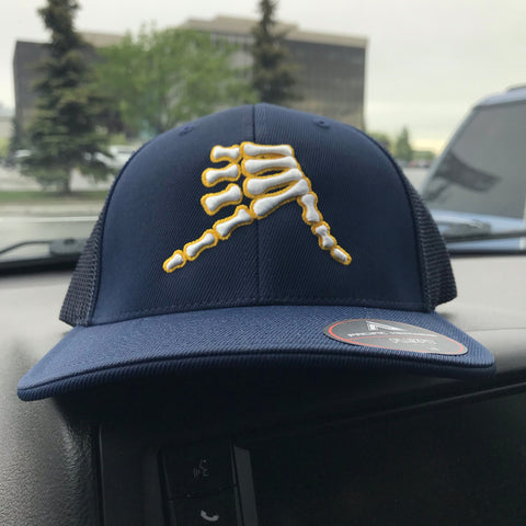 AkS Bones Trucker Hat in Navy with Yellow