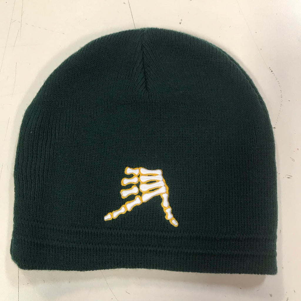 AkS Bones Beanie in Dark Green & Yellow