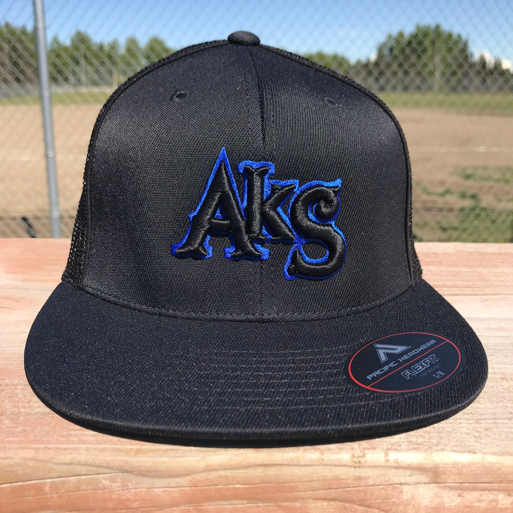 AkS Original Flatbill Trucker Hat in Black & Black with Royal