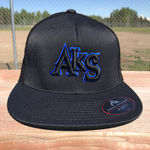 AkS Original hat in Black & Black with Thin Blue Line Flatbill