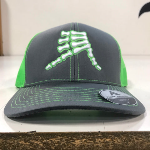 AkS Bones Snap-Back Trucker hat in Graphite & Neon Green