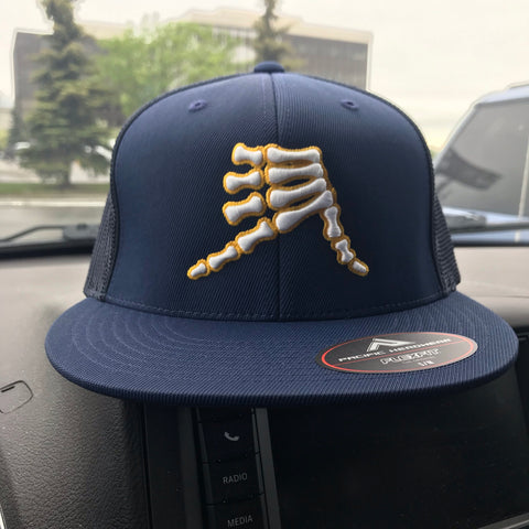AkS Bones Flatbill Trucker Hat in Navy