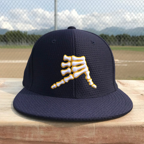 AkS Bones Jersey Hat in Navy with Yellow