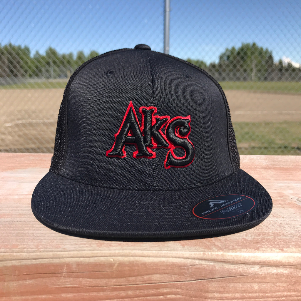 AkS Original Flatbill Trucker Hat in Black with Red
