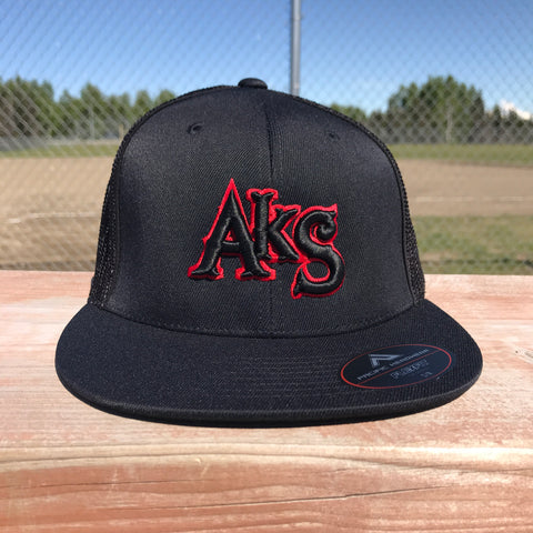 AkS Original hat in Black & Black with Thin Red Line Flatbill