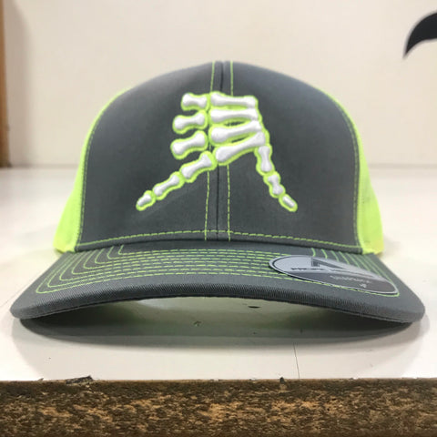 AkS Bones Snap-Back Trucker hat in Graphite & Neon Yellow