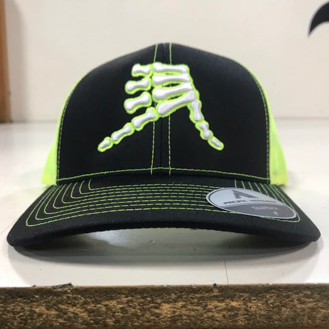 AkS Bones Snap-Back Trucker hat in Black & Neon Yellow