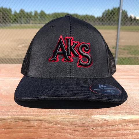 AkS Original Trucker Hat in Black with Red
