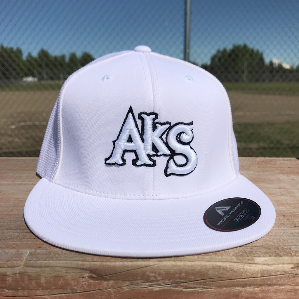 AkS Original Flatbill Trucker Hat in White with Black