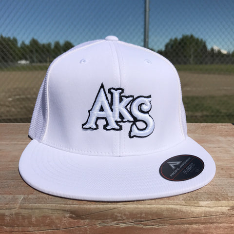 AkS Original hat in White & White with Black Outline Flatbill