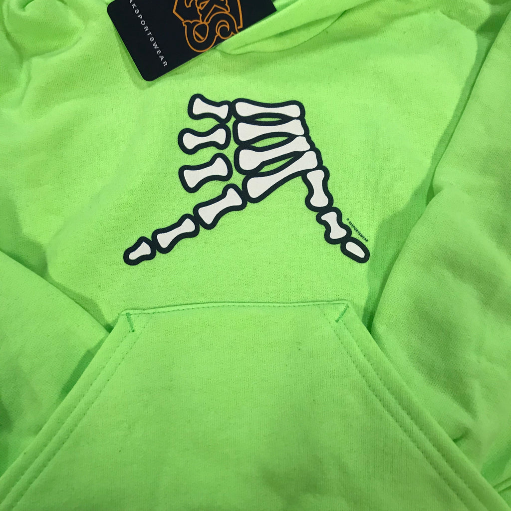 AkS Bones Youth Hoodie in Neon Green