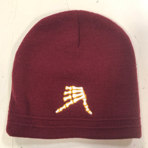 AkS Bones Beanie in Cardinal & Yellow