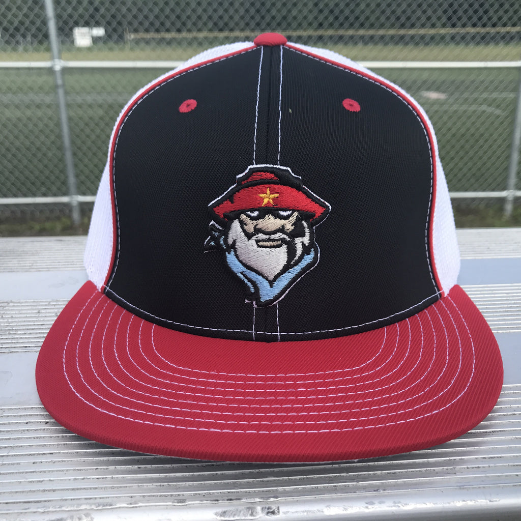 Prospector Flatbill Trucker Hat in Black & Red & White