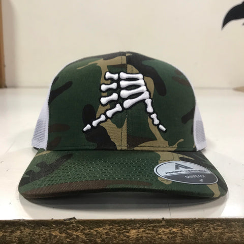 AkS Bones Snap-Back Trucker Hat in Army Camo