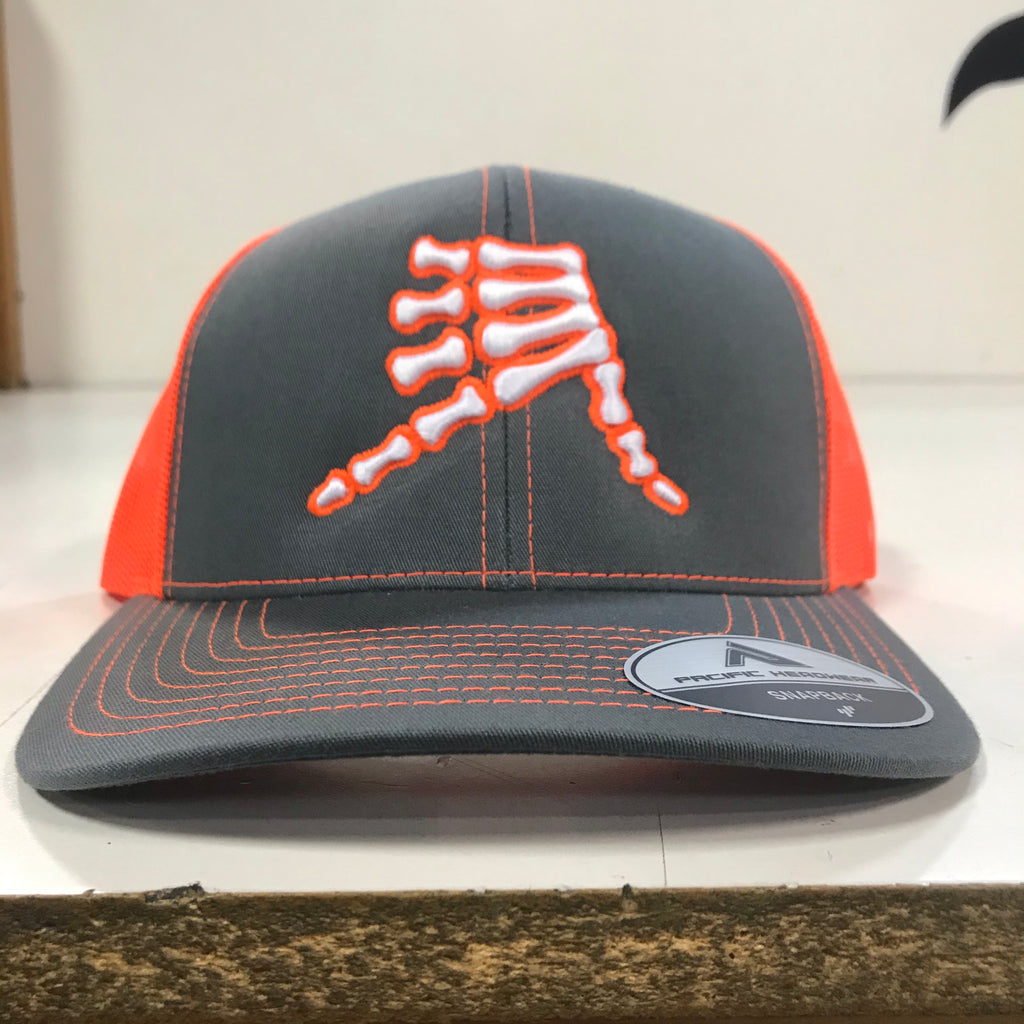 AkS Bones Snap-Back Trucker hat in Graphite & Neon Orange
