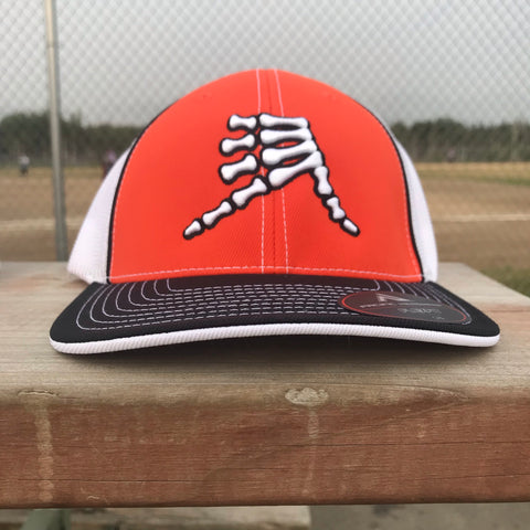 AkS Bones Trucker Hat in Orange & Black