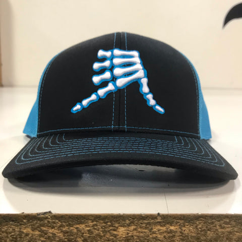 AkS Bones Snap-Back Trucker hat in Black & Neon Blue