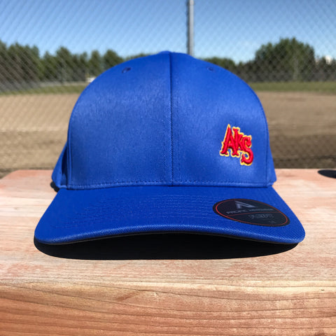 SK8R Preforated Hat in Royal Blue with Red & Gold