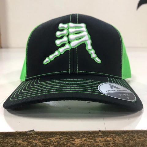 AkS Bones Snap-Back Trucker hat in Black & Neon Green