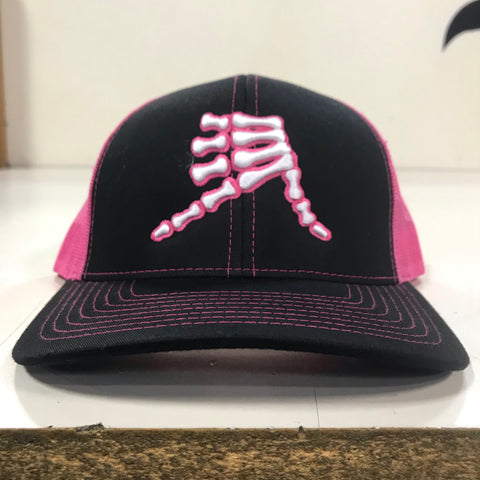 AkS Bones Snap-Back Trucker hat in Black & Neon Pink