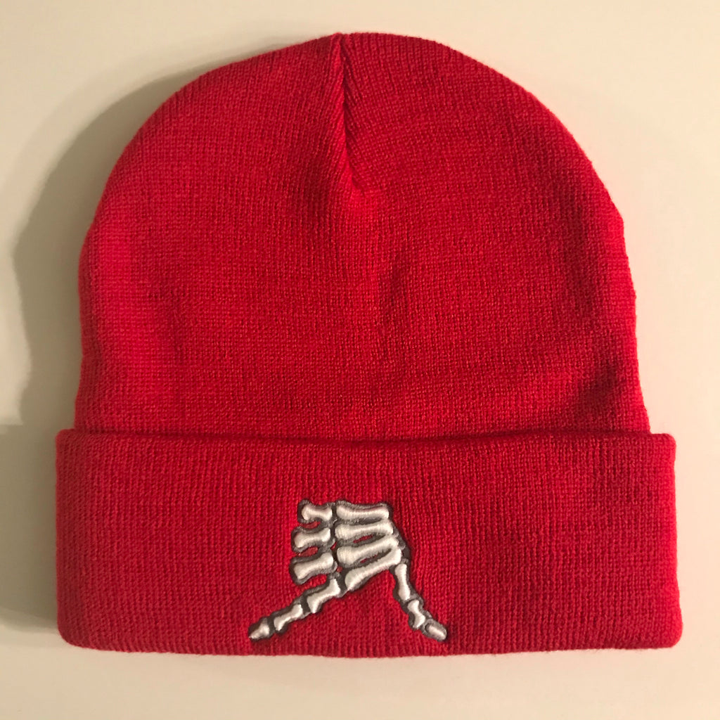 AkS Bones Beanie Knit Cuff in Red