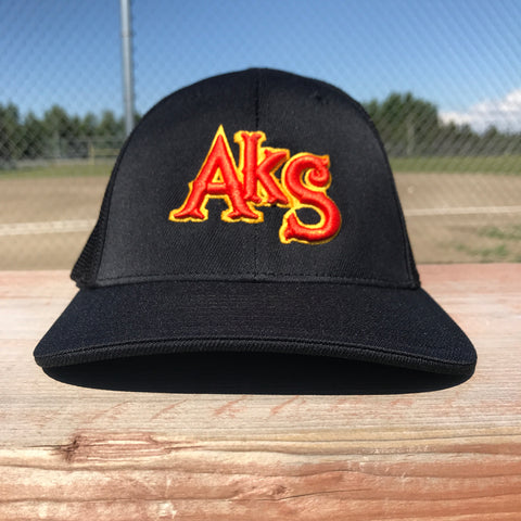 AkS Original hat in Black & Black with Orange/Gold logo