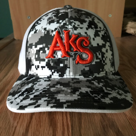 AkS Original Flatbill Trucker Hat in Digi Snow & White with Orange