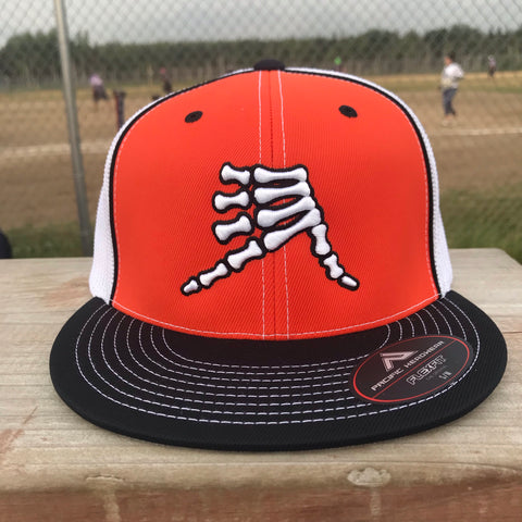AkS Bones Flatbill Trucker Hat in Orange & Black