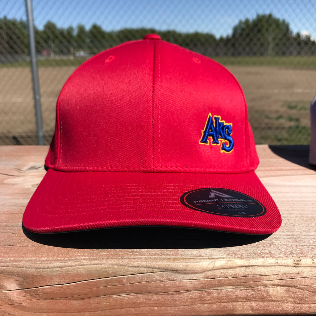 SK8R Preforated Hat in Red with Royal & Gold
