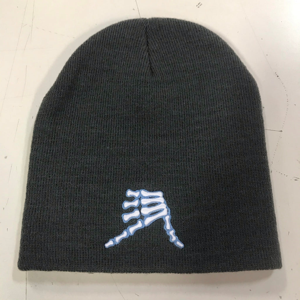 AkS Bones Beanie in Graphite & Columbia Blue