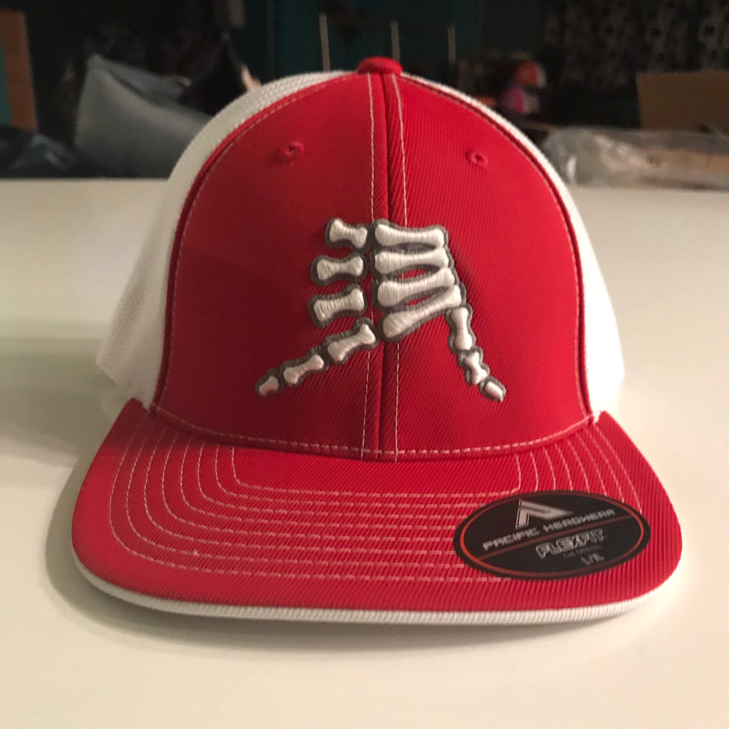 AkS Bones Trucker Hat in Red & White