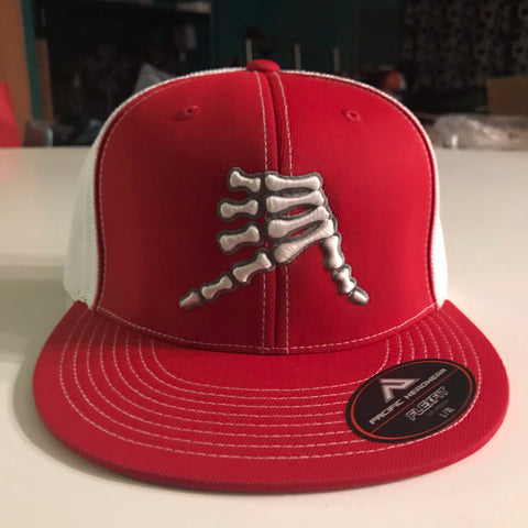 AkS Bones Flatbill Trucker Hat in Red & White