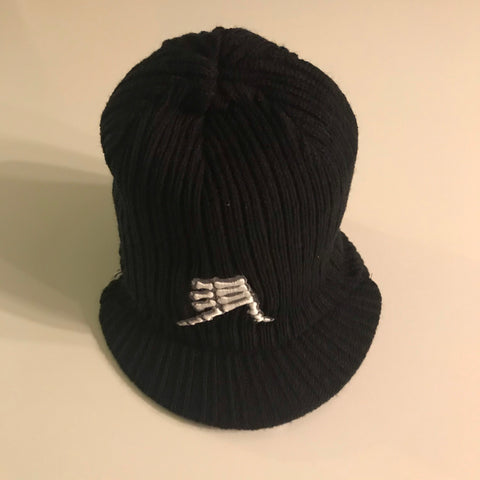 AkS Bones Beanie with Visor in Black