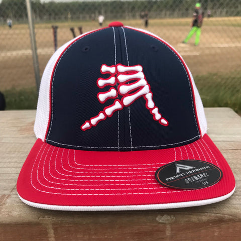 AkS Bones Trucker Hat in Navy, Red & White