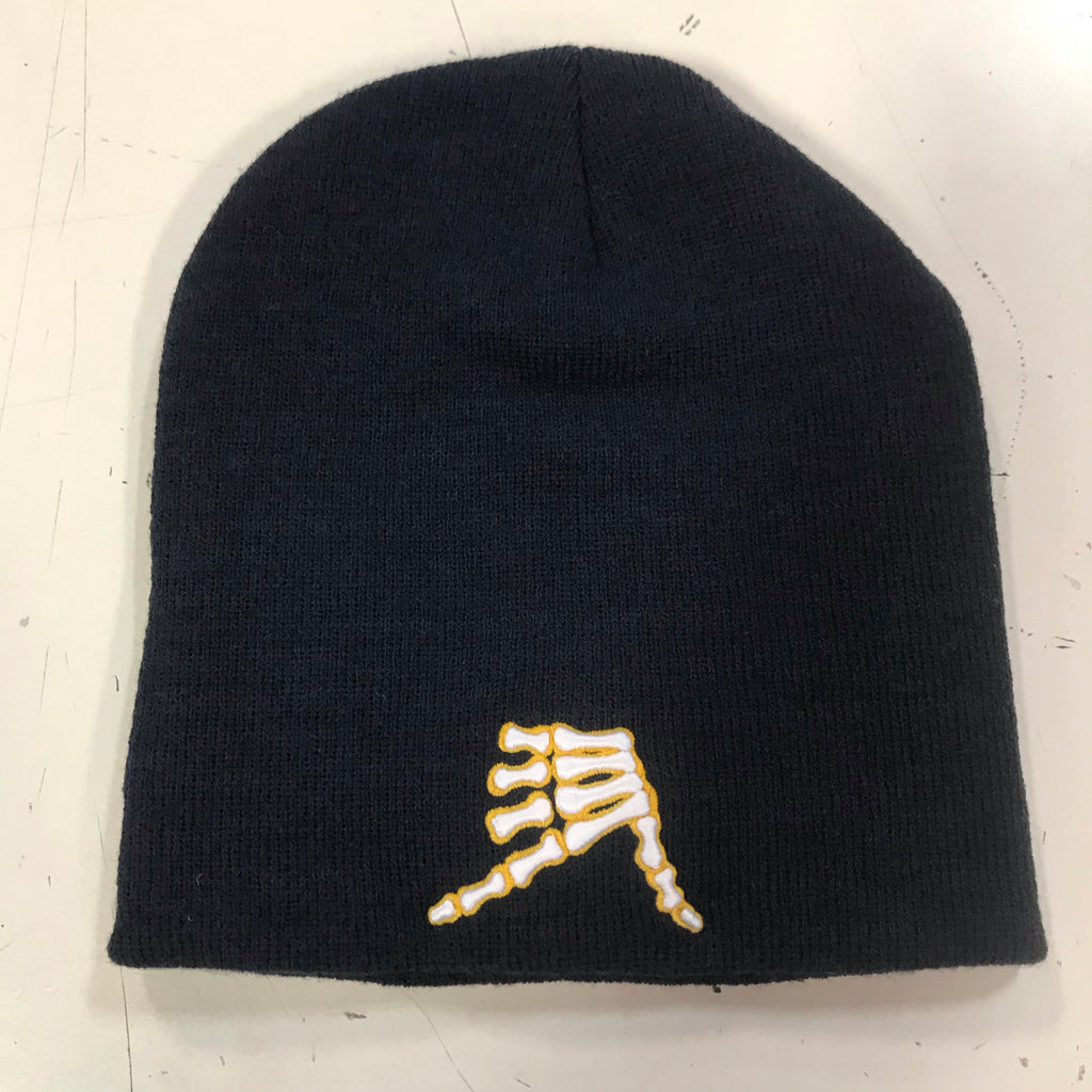 AkS Bones Beanie in Navy & Yellow