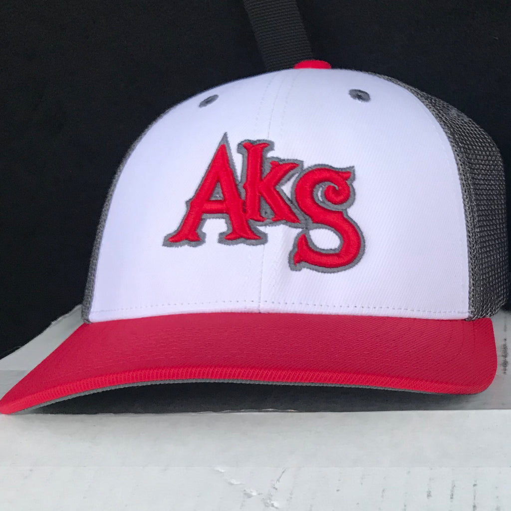 AkS Box Custom Trucker Hat in White & Red & Graphite - 2.0