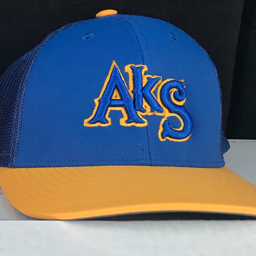 AkS Box Custom Trucker Hat in Royal & Yellow - 2.0