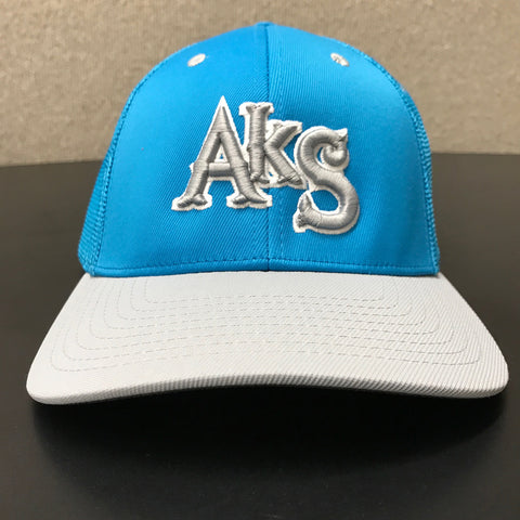 AkS Box Custom Trucker Hat in Neon Blue & Silver - 1.0