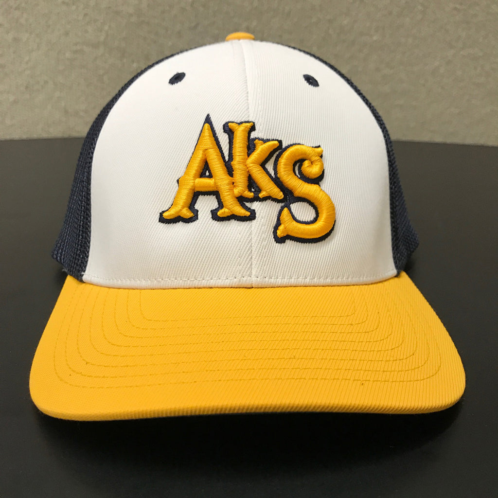 AkS Box Custom Trucker Hat in White & Yellow & Navy - 1.0