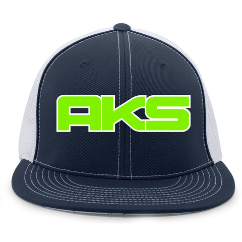AkS Big Chi Flatbill Trucker Hat in Navy & White with Neon Green