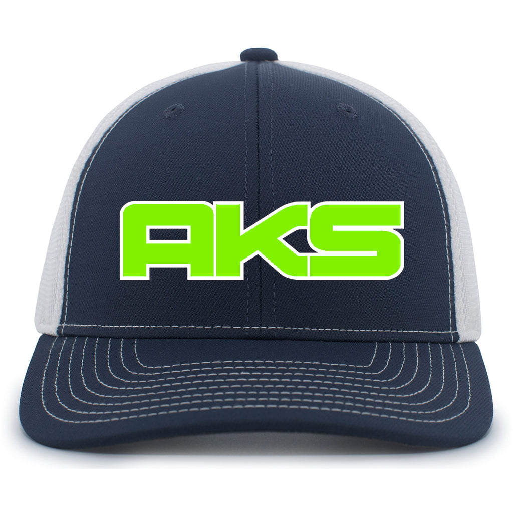 AkS Big Chi Snap-Back Trucker Hat in Navy & White with Neon Green & White