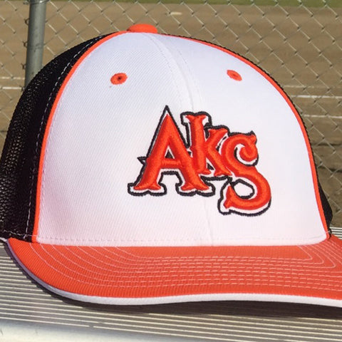 AkS Original Trucker Hat in White & Orange & Black