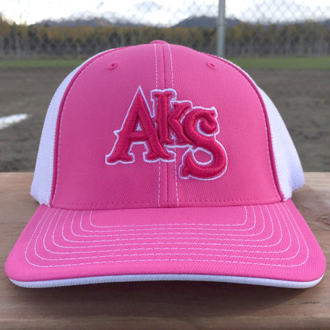 AkS Original Flatbill Trucker Hat in Pink & White with Pink