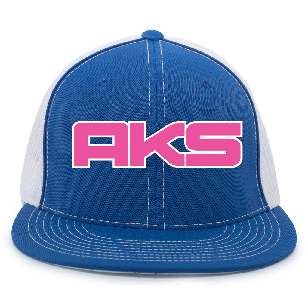 AkS Big Chi Flatbill Trucker Hat in Royal & White with Pink